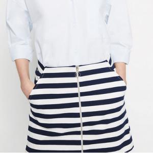 zara mini skirt navy and white stripes