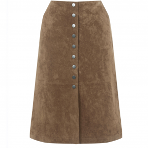 Suede Button Midi Skirt by Warehouse