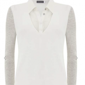 Ivory Jersey Sleeve Shirt