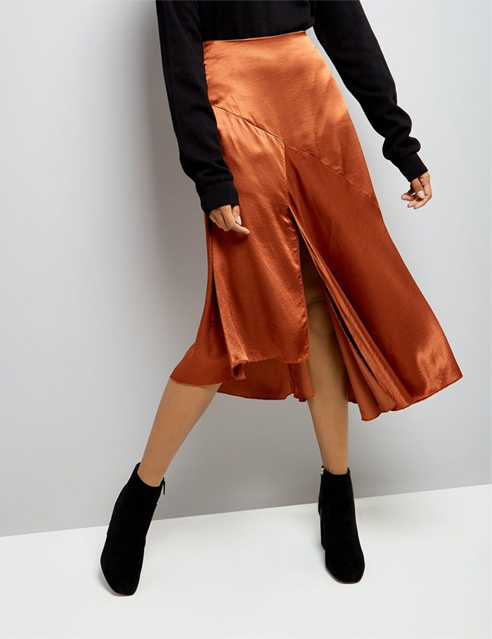 brown-asymmetric-satin-midi-skirt